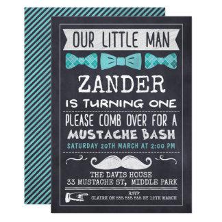 Chalkboard Moustache 1st Birthday Invitation