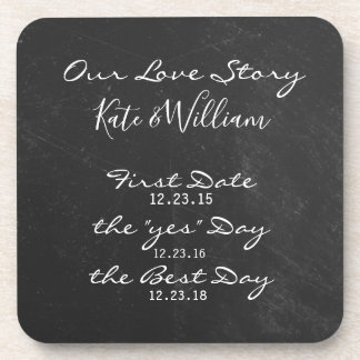 chalkboard Our Love story for wedding day Coaster
