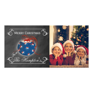 Chalkboard Photo Patriotic Christmas Personalized Photo Card