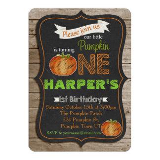 Chalkboard Pumpking 1st birthday Party invitaiton 13 Cm X 18 Cm Invitation Card
