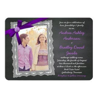 Chalkboard Purple Bow Ribbon Lace Photo Wedding Card