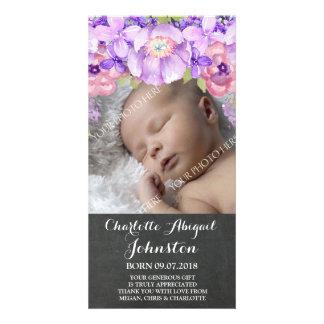 Chalkboard Purple Flowers Thank You Shower Custom Photo Card