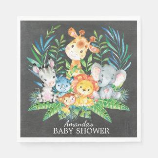 Chalkboard Safari Jungle Baby Shower Paper Napkins Disposable Napkin