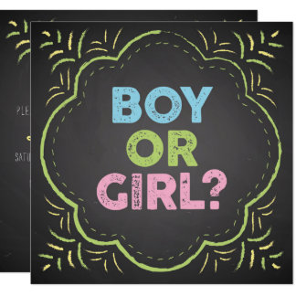 Chalkboard Style Gender Reveal Shower Invitation