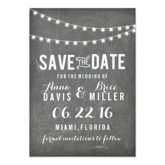Chalkboard Summer String Light Save The Date Card