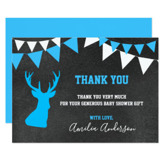 Chalkboard THANK YOU Blue Buck BOY baby shower Card