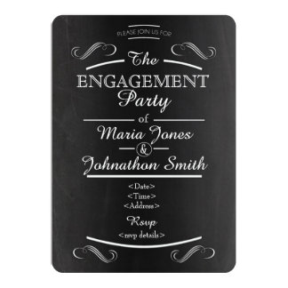 Chalkboard typography engagement invitation