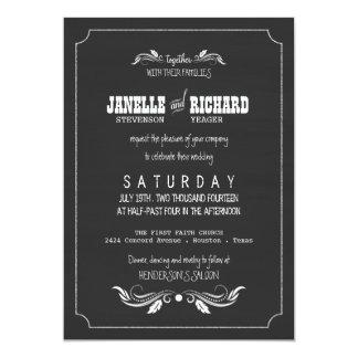Chalkboard Typography Vintage Wedding Invitations