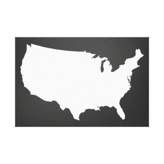 Chalkboard United States Map Art - Black and White Canvas Print