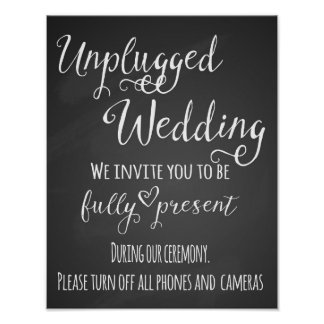 Chalkboard Unplugged Wedding Print poster