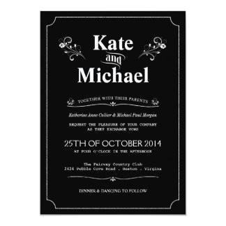 Chalkboard Vintage Floral Wedding Invitations