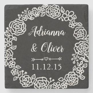 Chalkboard Vintage Floral Wreath | Wedding Stone Coaster