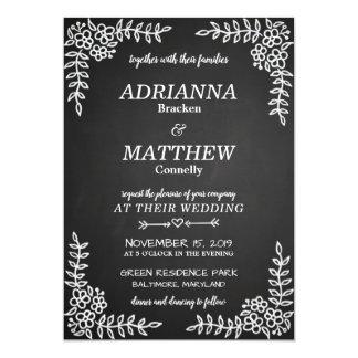 Chalkboard Vintage Flowers | Wedding Card