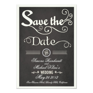 Chalkboard Vintage Style Save the Date Card