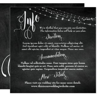 Chalkboard w/ Light Strings, Wedding Info Script Card