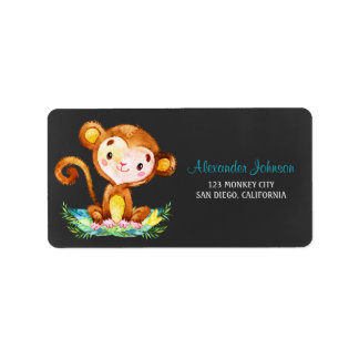 Chalkboard Watercolor Monkey Boy Address Label