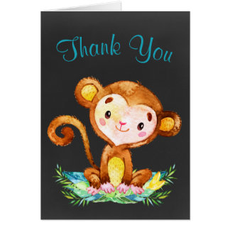 Chalkboard Watercolor Monkey Boy Thank You Card