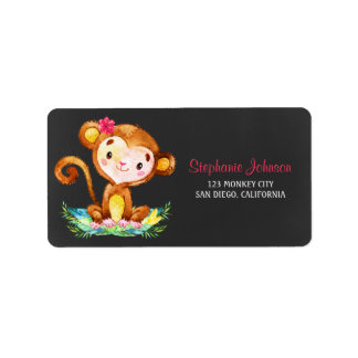 Chalkboard Watercolor Monkey Girl Address Label