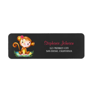 Chalkboard Watercolor Monkey Girl Return Address Label