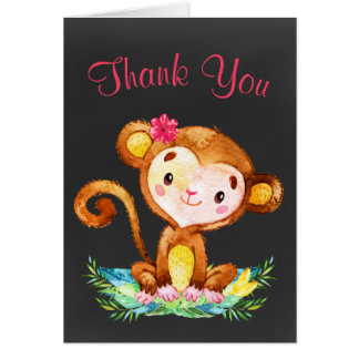 Chalkboard Watercolor Monkey Girl Thank You Card
