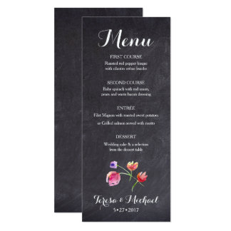 Chalkboard Watercolour Flower Menu card, custom Card