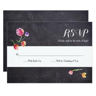 Chalkboard Watercolour Flower RSVP cards