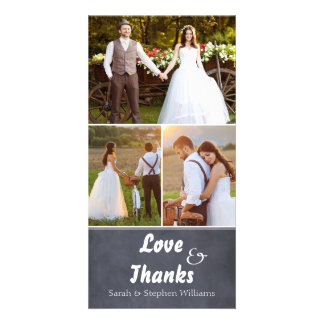Chalkboard Wedding 3 Photo Thank You Photocard Custom Photo Card