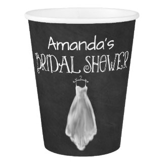Chalkboard Wedding Dress Bridal Shower Party Cups