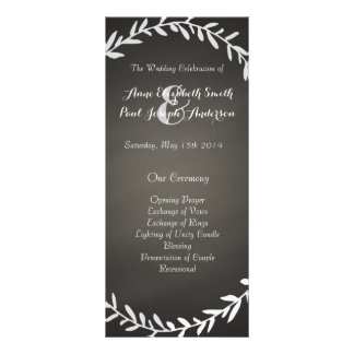 Chalkboard wreath wedding program full color rack card