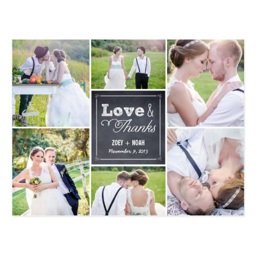 Chalked Collage Wedding Thank You Card Post Cards