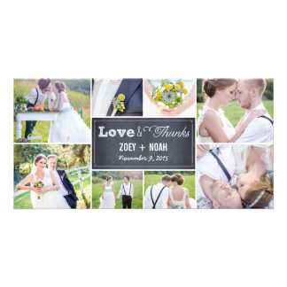 Chalked Collage Wedding Thank You Photo Cards