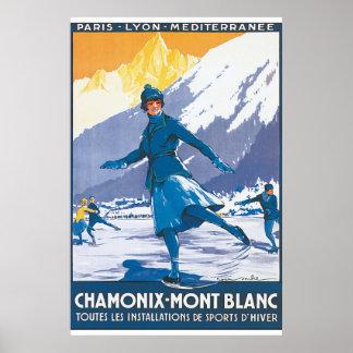 Chamonix Mont Blanc Vintage Travel Poster