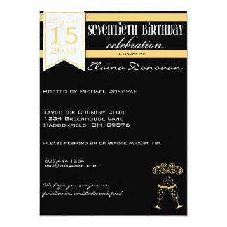 Champagne 70th Birthday in Gold and White 11 Cm X 16 Cm Invitation Card