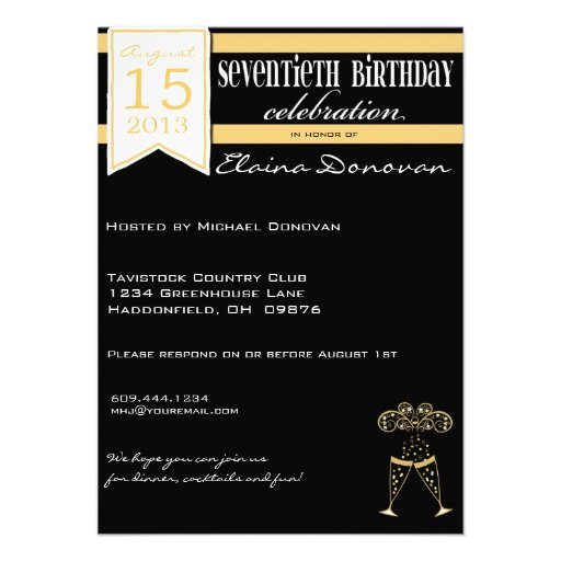 Champagne 70th Birthday in Gold and White Custom Announcement