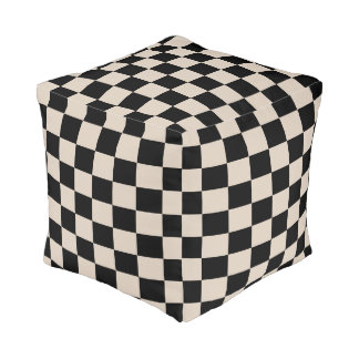 Champagne and Black Checkered Pouf