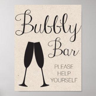 Champagne Bar Wedding Sign Poster