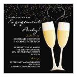 "Champagne & Bubbles Engagement Party Invitation 5.25"" Square Invitation Card"
