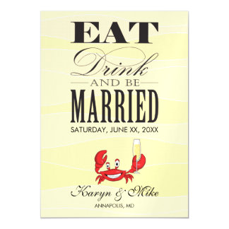 Champagne Crab Save the Date Card Magnetic Invitations