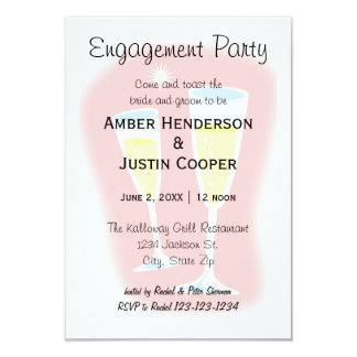 Champagne Glasses - 3x5 Engagement Party Card