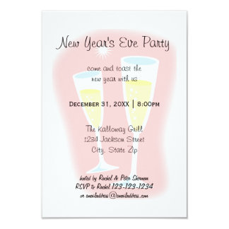 Champagne Glasses - 3x5 New Year's Eve Party Card