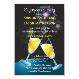 Champagne Glasses Fireworks - 3x5 Engagement Party Card