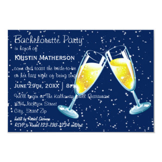 Champagne Glasses Night - 3x5 Bachelorette Party Card