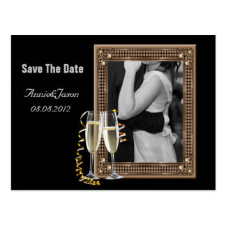 Champagne glasses Wedding save the date Postcard
