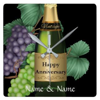 Champagne Personalized Anniversary Custom Clock
