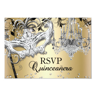 Chandelier Masquerade Gold Quinceanera RSVP Card