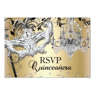 "Chandelier Masquerade Gold Quinceanera RSVP 3.5"" X 5"" Invitation Card"