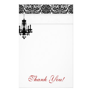 Chandelier Thank You Stationery Damask BW