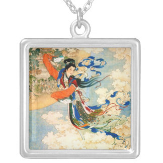 Chang'e Flying to the Moon Silver Plated Necklace