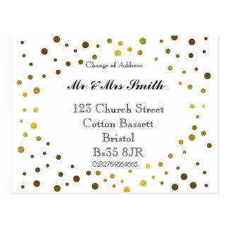 Change of address gold dots postcard