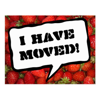 Change of address postcards with strawberry image